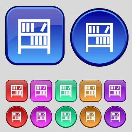 encyclopedias: Bookshelf icon sign. A set of twelve vintage buttons for your design. Vector illustration