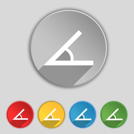 40 45: Angle 45 degrees icon sign. Symbol on five flat buttons. Vector illustration