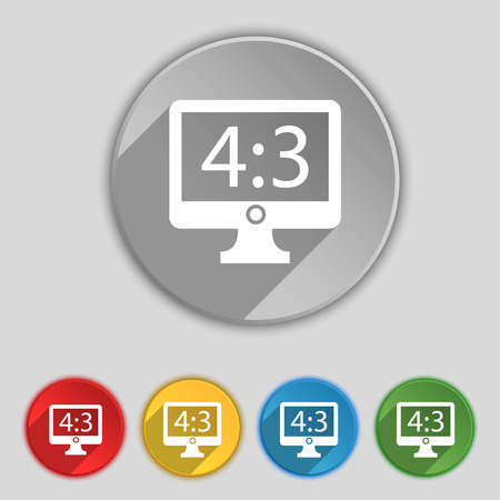 the ratio: Aspect ratio 4 3 widescreen tv icon sign. Symbol on five flat buttons. Vector illustration