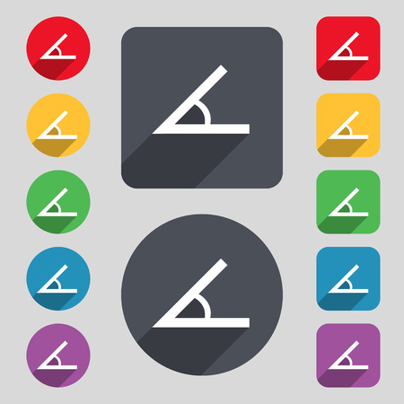 Angle 45 degrees icon sign. A set of 12 colored buttons and a long shadow. Flat design. Vector Illustration