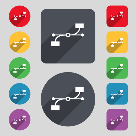 bezier: Bezier Curve icon sign. A set of 12 colored buttons and a long shadow. Flat design. Vector