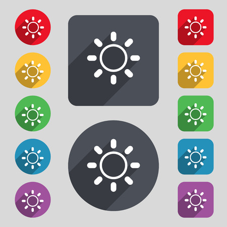 brightness: Brightness icon sign. A set of 12 colored buttons and a long shadow. Flat design. Vector Illustration