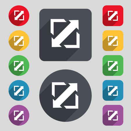 big size: Deploying video, screen size icon sign. A set of 12 colored buttons and a long shadow. Flat design. Vector