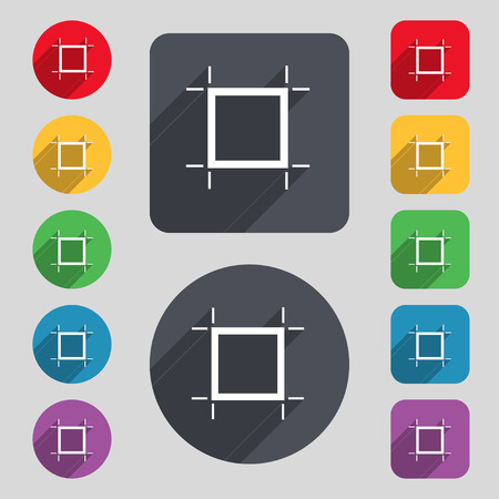 registration mark: Crops and Registration Marks icon sign. A set of 12 colored buttons and a long shadow. Flat design. Vector
