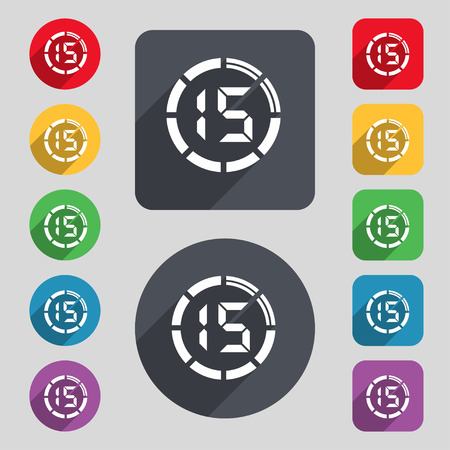 interval: 15 second stopwatch icon sign. A set of 12 colored buttons and a long shadow. Flat design. Vector Illustration