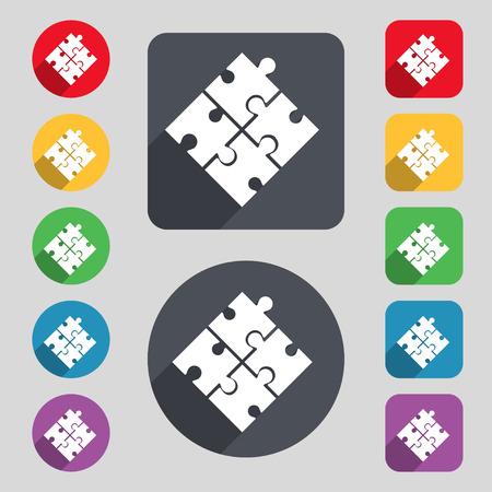 piezas de puzzle: Pedazo del rompecabezas icono de la muestra. Un conjunto de 12 botones de colores y una larga sombra. Dise�o plano. Vector