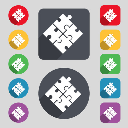 pieces: Puzzle piece icon sign. A set of 12 colored buttons and a long shadow. Flat design. Vector