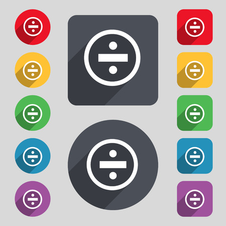 dividing: dividing icon sign. A set of 12 colored buttons and a long shadow. Flat design. Vector