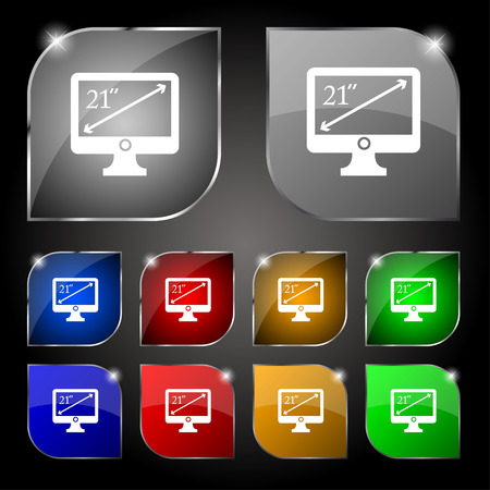 inches: diagonal of the monitor 21 inches icon sign. Set of ten colorful buttons with glare. Vector illustration Illustration