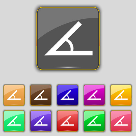 45: Angle 45 degrees icon sign. Set with eleven colored buttons for your site. Vector illustration