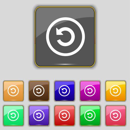 groupware: Upgrade, flecha, icon signo. Set con once botones de colores para su sitio. Ilustraci�n vectorial