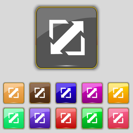 wider: Deploying video, screen size icon sign. Set with eleven colored buttons for your site. Vector illustration