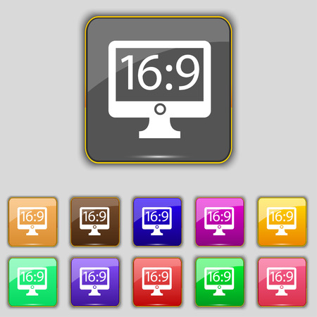 aspect: Aspect ratio 16:9 widescreen tv icon sign. Set with eleven colored buttons for your site. Vector Illustration