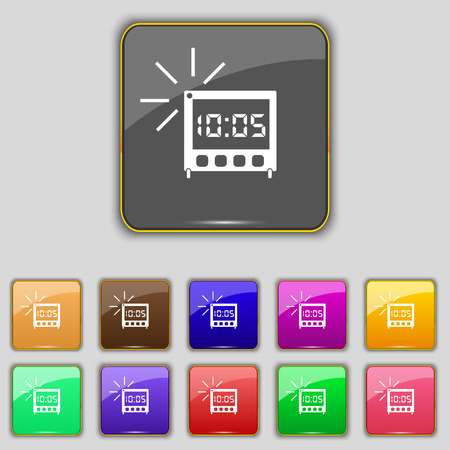 digital clock: digital Alarm Clock icon sign. Set with eleven colored buttons for your site. Vector illustration Illustration