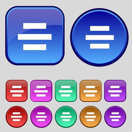 alignment: Centro signo icono de alineaci�n. Un conjunto de doce botones de �poca para su dise�o. Ilustraci�n vectorial Vectores