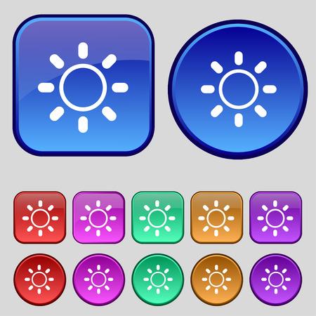 brightness: Brightness icon sign. A set of twelve vintage buttons for your design. Vector illustration