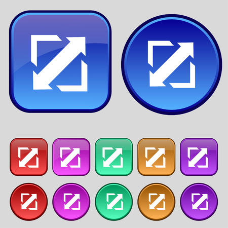wider: Deploying video, screen size icon sign. A set of twelve vintage buttons for your design. Vector illustration