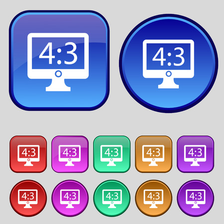 the ratio: Aspect ratio 4 3 widescreen tv icon sign. A set of twelve vintage buttons for your design. Vector illustration