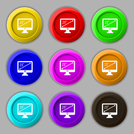 inches: diagonal of the monitor 21 inches icon sign. symbol on nine round colourful buttons. Vector illustration