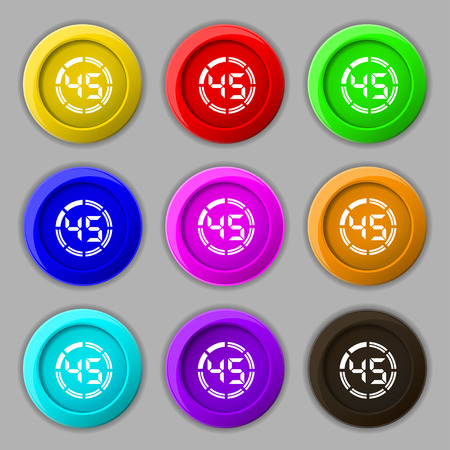 corner clock: 45 second stopwatch icon sign. symbol on nine round colourful buttons. Vector illustration Illustration