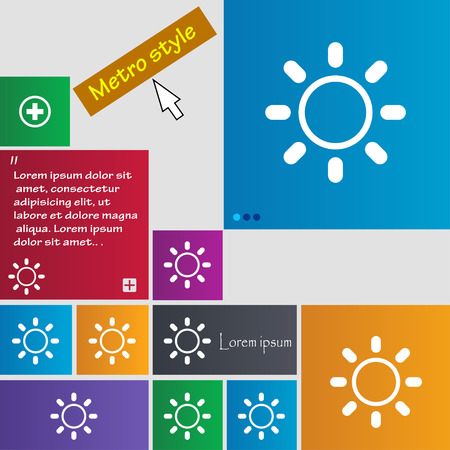 brightness: Brightness icon sign. Metro style buttons. Modern interface website buttons with cursor pointer. Vector illustration