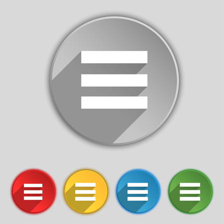 width: Align text to the width icon sign. Symbol on five flat buttons. Vector illustration