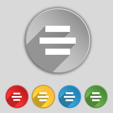 alignment: Center alignment icon sign. Symbol on five flat buttons. Vector illustration