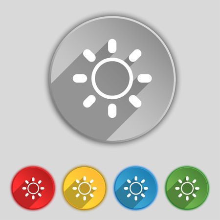 brightness: Brightness icon sign. Symbol on five flat buttons. Vector illustration