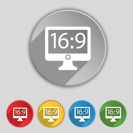 aspect: Aspect ratio 16:9 widescreen tv icon sign. Symbol on five flat buttons. Vector illustration