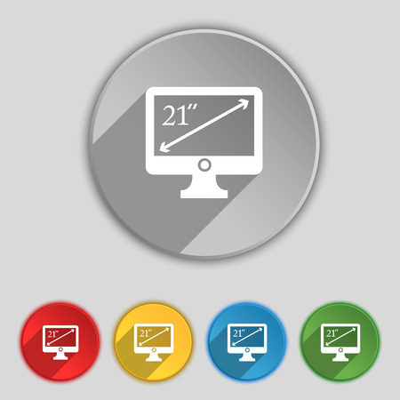 inches: diagonal of the monitor 21 inches icon sign. Symbol on five flat buttons. Vector illustration