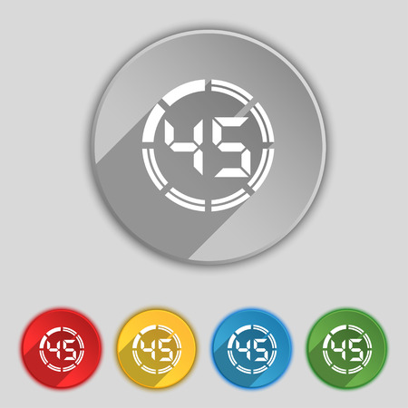 corner clock: 45 second stopwatch icon sign. Symbol on five flat buttons. Vector illustration Illustration