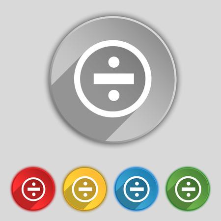 dividing icon sign. Symbol on five flat buttons. Vector illustration Illustration