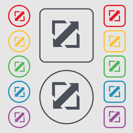 screen size: Deploying video, screen size icon sign. symbol on the Round and square buttons with frame. Vector illustration Illustration