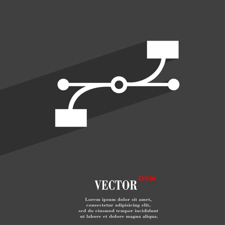 Bezier Curve  icon symbol Flat modern web design with long shadow and space for your text. Vector illustration