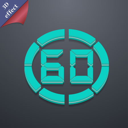 corner clock: 60 second stopwatch  icon symbol. 3D style. Trendy, modern design with space for your text Vector illustration