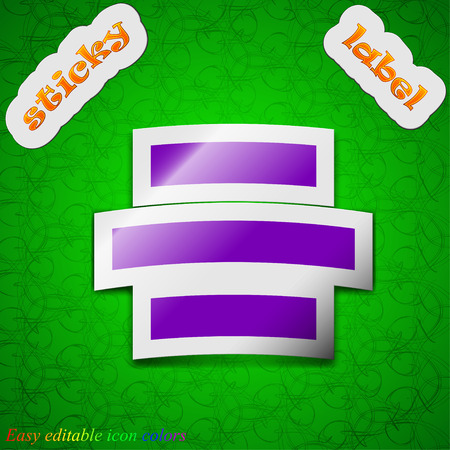alignment: Centro signo icono de alineaci�n. S�mbolo elegante de color etiqueta adhesiva sobre fondo verde. Ilustraci�n vectorial