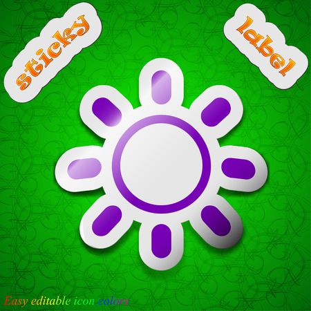 brightness: Brightness icon sign. Symbol chic colored sticky label on green background. Vector illustration Illustration