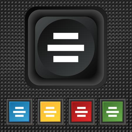 alignment: Centro signo icono de alineaci�n. s�mbolo cuadrado botones de colores en la textura de negro. Ilustraci�n vectorial Vectores