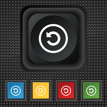 groupware: Upgrade, arrow, update icon sign. symbol Squared colourful buttons on black texture. Vector illustration