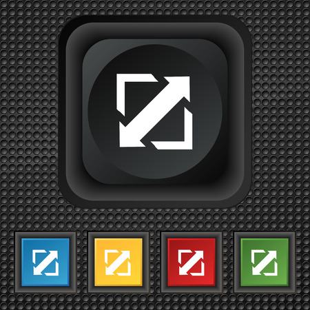 screen size: Deploying video, screen size icon sign. symbol Squared colourful buttons on black texture. Vector illustration