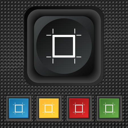 registration mark: Crops and Registration Marks icon sign. symbol Squared colourful buttons on black texture. Vector illustration