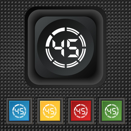 min: 45 second stopwatch icon sign. symbol Squared colourful buttons on black texture. Vector illustration