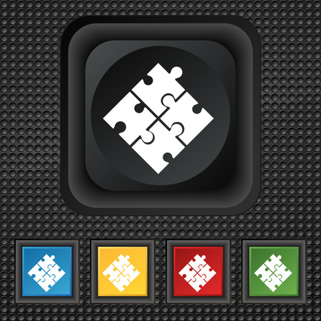 puzzle corners: Puzzle piece icon sign. symbol Squared colourful buttons on black texture. Vector illustration
