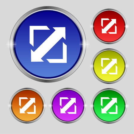wider: Deploying video, screen size icon sign. Round symbol on bright colourful buttons. Vector illustration