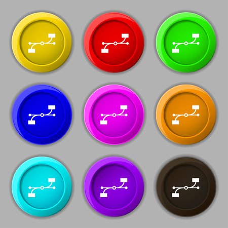 bezier: Bezier Curve icon sign. symbol on nine round colourful buttons. Vector illustration