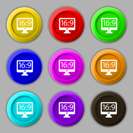 aspect: Aspect ratio 16:9 widescreen tv icon sign. symbol on nine round colourful buttons. Vector illustration