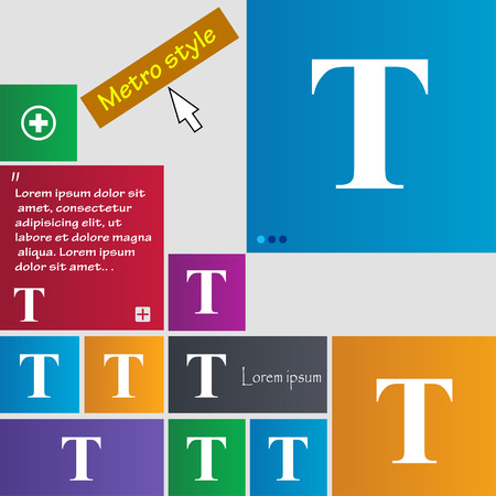 t document: Text edit icon sign. Metro style buttons. Modern interface website buttons with cursor pointer. Vector illustration