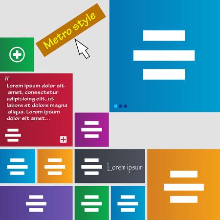 alignment: Centro signo icono de alineaci�n. Botones de estilo Metro. Sitio web interfaz modernos botones con puntero del cursor. Ilustraci�n vectorial