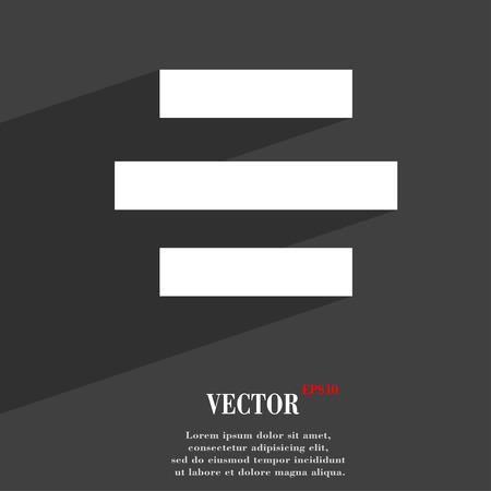 alignment: Icono del Centro de alineaci�n s�mbolo Dise�o plano web moderno con una larga sombra y el espacio para el texto. Ilustraci�n vectorial