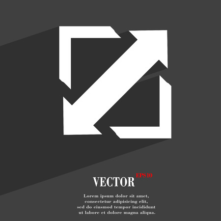 screen size: Deploying video, screen size  icon symbol Flat modern web design with long shadow and space for your text. Vector illustration